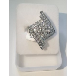 Rhombus Shaped Silver Shiny Ring Adjustable Fit.