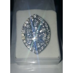 Oval Shaped Ring with Silver Crystals Adjustable Fit