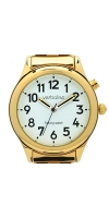 Easy to see face Ladies Talking Watch In Beautiful Gold Case expanding Strap